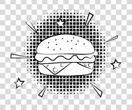 Hamburger comico con le ombre di semitono Stile di Pop art del fondo degli alimenti a rapida preparazione retro Illustrazione ENV royalty illustrazione gratis