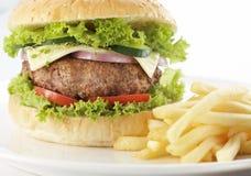Hamburger con formaggio Immagine Stock Libera da Diritti