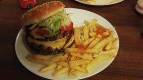 Hamburger con i chip immagine stock