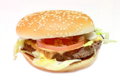 Hamburger con insalata ed i pomodori Fotografie Stock