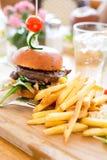 Hamburger con le fritture Immagine Stock