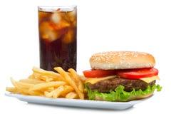Hamburger con le fritture e la cola Fotografia Stock