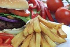 Hamburger con le patate fritte Immagini Stock