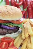 Hamburger con le patate fritte Fotografie Stock Libere da Diritti