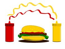 Hamburger and condiments Royalty Free Stock Photography
