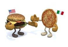Hamburger contro pizza Fotografia Stock