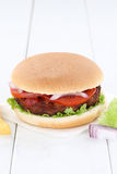 Hamburger copyspace copy space beef tomatoes lettuce Stock Photography