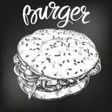 Hamburger, croquis tiré par la main d'illustration de vecteur d'hamburger menu de craie Rétro type illustration libre de droits