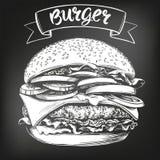 Hamburger, croquis tir? par la main d'illustration de vecteur d'hamburger menu de craie R?tro type illustration de vecteur