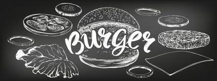 Hamburger, croquis tir? par la main d'illustration de vecteur d'hamburger menu de craie R?tro type illustration stock
