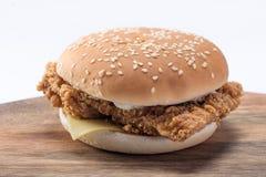 Hamburger croustillant de poulet avec de la laitue, le fromage, et la mayonnaise images libres de droits