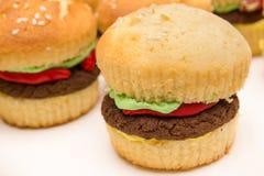 Hamburger Cupcakes. Several cupcakes made in the style of hamburgers Royalty Free Stock Images