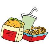 Hamburger curly fries and soda Stock Image
