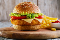 Hamburger with cutlet breaded stock photo