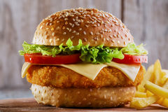 Hamburger with cutlet breaded royalty free stock images