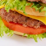 Hamburger with cutlet and cheese on white background Royalty Free Stock Photo