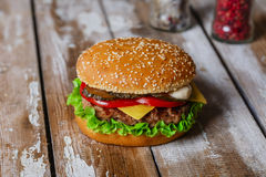 Hamburger with cutlet grilled Stock Image