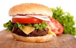 Hamburger and cutting board Stock Photography