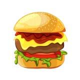 Hamburger délicieux avec du boeuf, laitue, tomate, ketchup, fromage illustration libre de droits