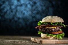 Hamburger délicieux de fromage avec de la laitue et la tomate Closeu images libres de droits