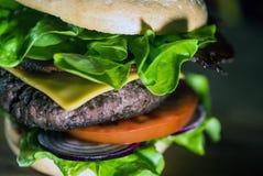 Hamburger délicieux de fromage avec de la laitue et la tomate closeup image stock