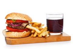 Hamburger, dłoniaki i kola, obraz stock