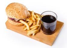 Hamburger, dłoniaki i kola, fotografia royalty free