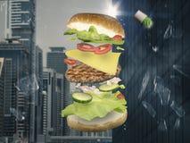 Hamburger d'aliments de préparation rapide Images libres de droits