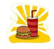Hamburger d'aliments de préparation rapide et bande dessinée de boissons dessinant la conception simple Vecteur illustration libre de droits