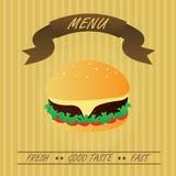 Hamburger d'annata, menu di pasto rapido Immagini Stock Libere da Diritti