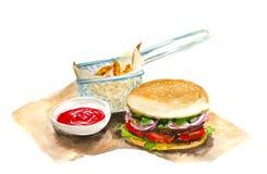 Hamburger d'aquarelle avec des fritures de pomme de terre Image stock