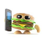 hamburger 3d che tiene un telefono cellulare royalty illustrazione gratis