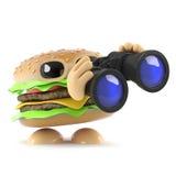 hamburger 3d con il binocolo Fotografia Stock Libera da Diritti