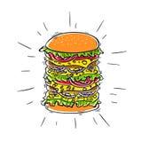 Hamburger - d'isolement sur le fond blanc, vecteur Aliments de préparation rapide de sandwich Image libre de droits