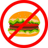 Hamburger da ilustração do vetor, sinal vermelho da proibição Foto de Stock Royalty Free