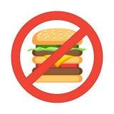 Hamburger danger label. Fast food, unhealthy eating, junk food Stock Images