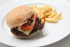 Hamburger de boeuf avec des fritures photographie stock libre de droits