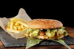 Hamburger de cheeseburger avec des pommes frites Photos libres de droits