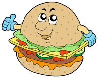 hamburger de dessin animé Photographie stock libre de droits