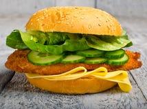 Hamburger de filet de poulet Image stock