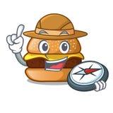 Hamburger de fromage d'explorateur situé sur la bande dessinée de plat illustration libre de droits