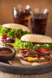 Hamburger de fromage de lard à l'oignon de tomate de conserves au vinaigre Images libres de droits