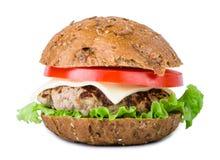 Hamburger de plan rapproché d'isolement sur le blanc Images stock