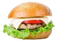 Hamburger de plan rapproché d'isolement sur le blanc Photo libre de droits