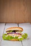 Hamburger de poissons. Saumons. Photographie stock libre de droits
