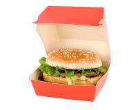 Hamburger in de rode doos Royalty-vrije Stock Afbeeldingen