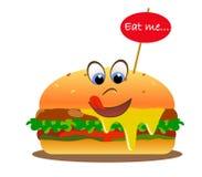 Hamburger de sourire avec des yeux et le slogan : Mangez-moi illustration stock