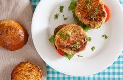 Hamburger de thon Photographie stock libre de droits