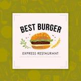 Hamburger de vecteur et café d'aliments de préparation rapide/conception logo de restaurant/barre sur le fond vert sans couture illustration stock