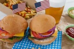 Hamburger decorati con il tema del 4 luglio Immagine Stock Libera da Diritti